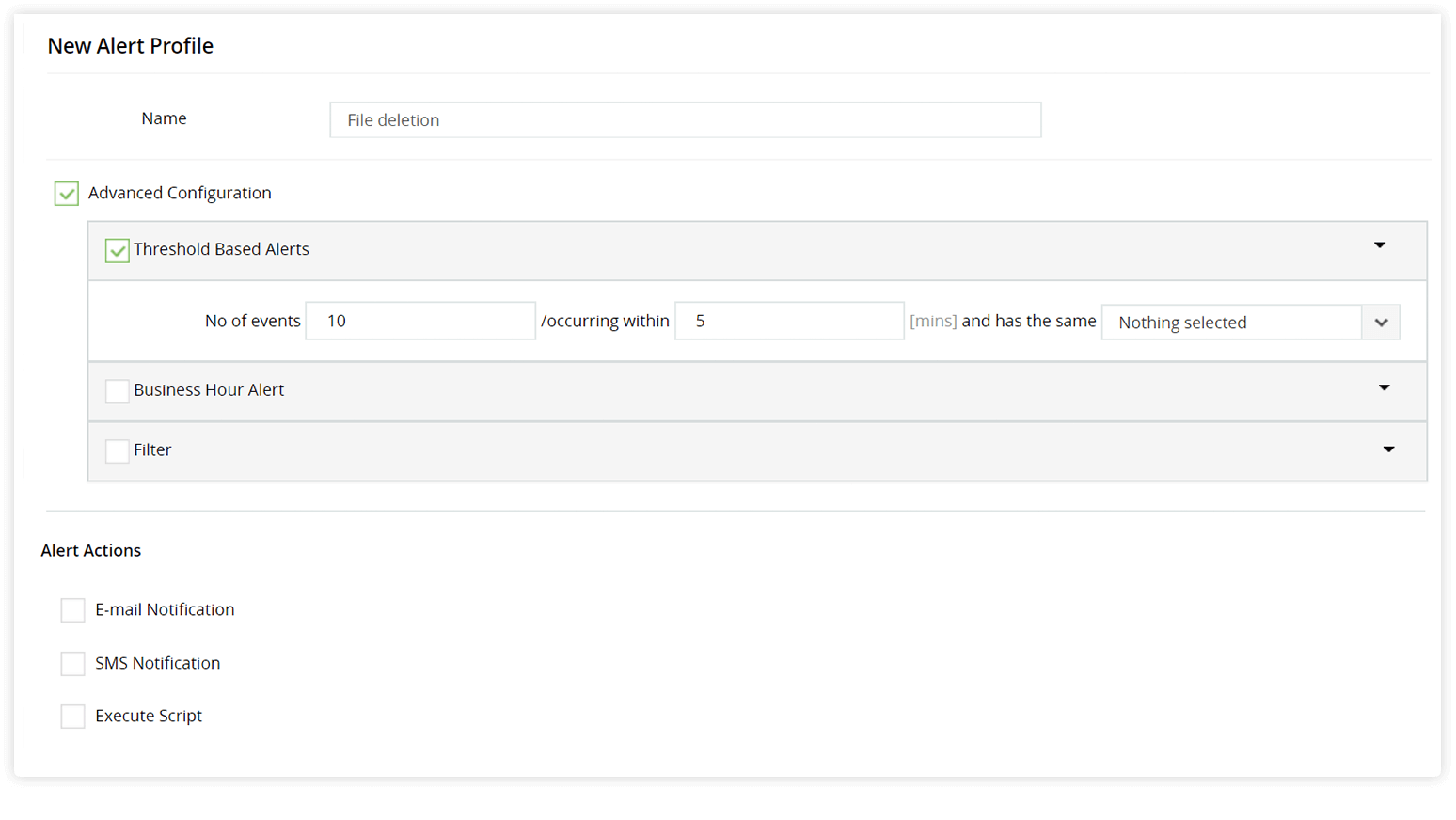Create alert profile for group membership changes