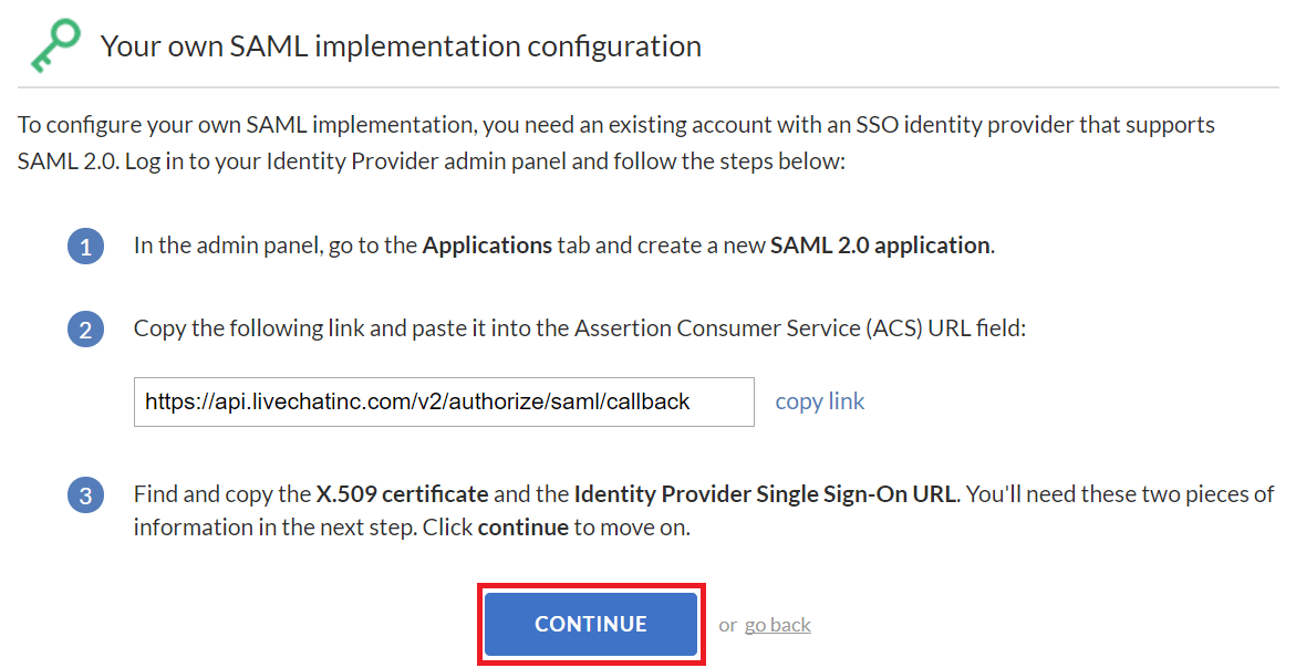 livechat-saml-implementation